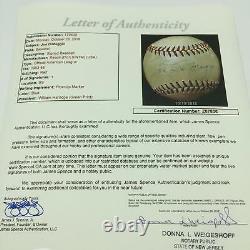 1940's Joe Dimaggio Playing Days Signed American League Harridge Baseball JSA