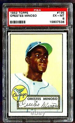 1952 Orestes Minoso Rookie #195 Topps Red Back Chicago Psa 6 Ex Mint Ships Free