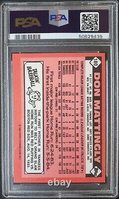 1986 Topps TIFFANY # 180 DON MATTINGLY NEW YORK YANKEES 5,000 PRODUCED PSA 9