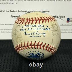 1991 Mlb American League All Star Signed Baseball 25 Autographs Puckett+ Bas Loa
