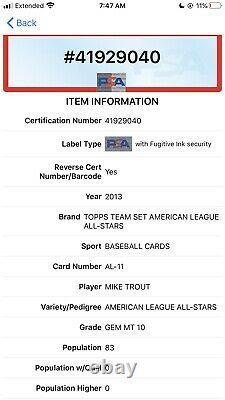 2013 Topps Team Set MIKE TROUT Rookie Cup American League All Stars PSA 10 Gem