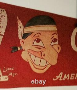 Cleveland Indians American League Champions 1954 felt pennant withteam roster 29