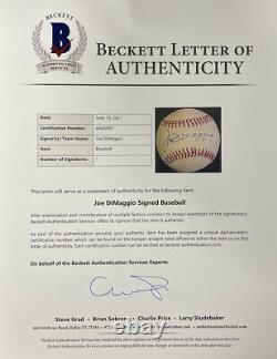 Joe DiMaggio Signed Yankees American League Baseball BAS LOA AA05907