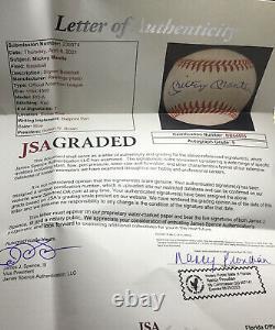 MICKEY MANTLE JSA SIGNED AMERICAN LEAGUE BASEBALL AUTOGRAPHED LOA Certified