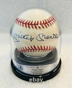 Mickey Mantle Autographed American League MLB Baseball COA Beckett Graded 9