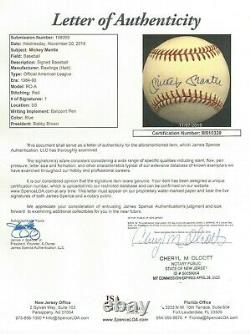 Mickey Mantle Jsa Certified Signed American League Baseball Autographed #bb10328