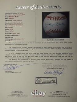 Mickey Mantle Jsa Certified Signed American League Baseball Autographed #z26295