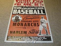 Negro American League Baseball Kansas Monarches Harlem Stars Poster Broadside ra