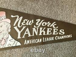 RARE New York Yankees 1950's American League Champions Scroll Roster Pennant