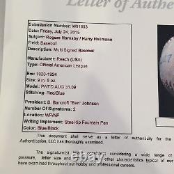 Rare 1920 Harry Heilmann & Rogers Hornsby Signed American League Baseball JSA