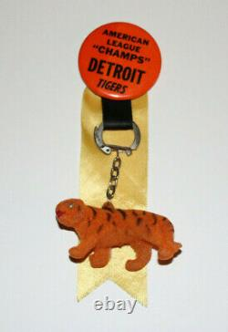Scarce 1968 DETROIT TIGERS American League Champs Pin with Hanging Tiger