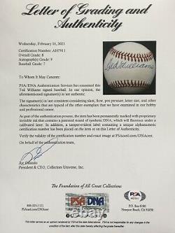 Ted Williams Autographed American League Baseball, PSA Grade Near-Mint 8