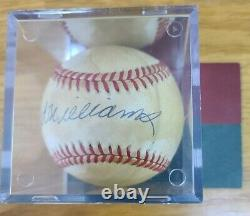 Ted Williams Autographed Official American League Baseball withCOA and Cube