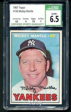 Topps 1967 Mickey Mantle CSG 6.5