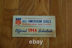 Very Rare 1944 All American Girls Professional Baseball League Schedule Brochure