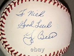 Yogi Berra Signed Rawlings Al Baseball Yankees Fan Favorite To Nick Good Luck